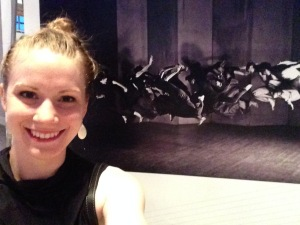 Julia post-performance at the Dance as a Weapon exhibit.